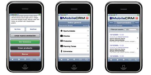 Capturas del Mobile CRM en Iphone e Ipod Touch